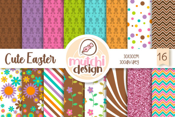 Print on Demand: Cute Easter Digital Papers Graphic Backgrounds By Mutchi Design