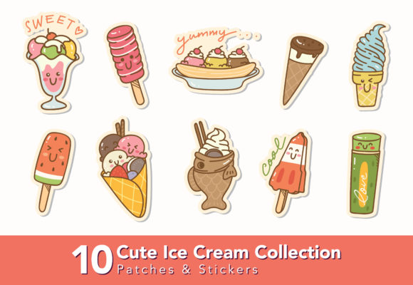 Cute Ice Cream Graphic Icons By Big Barn Doodles