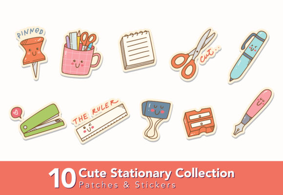 Download Free Cute Stationary Icons Graphic By Big Barn Doodles Creative Fabrica for Cricut Explore, Silhouette and other cutting machines.