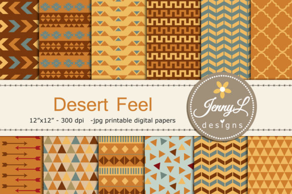 Download Free Desert Tribal Digital Papers Graphic By Jennyl Designs for Cricut Explore, Silhouette and other cutting machines.
