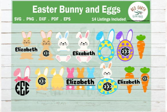 Easter Bunny and Eggs Monogram Frame  Graphic Crafts By redearth and gumtrees
