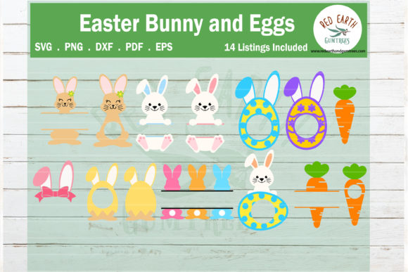Download Free Easter Bunny And Eggs Monogram Frame Graphic By Redearth And for Cricut Explore, Silhouette and other cutting machines.