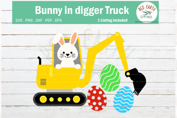 Easter Bunny in Digger Truck Rabbit Graphic Crafts By redearth and gumtrees