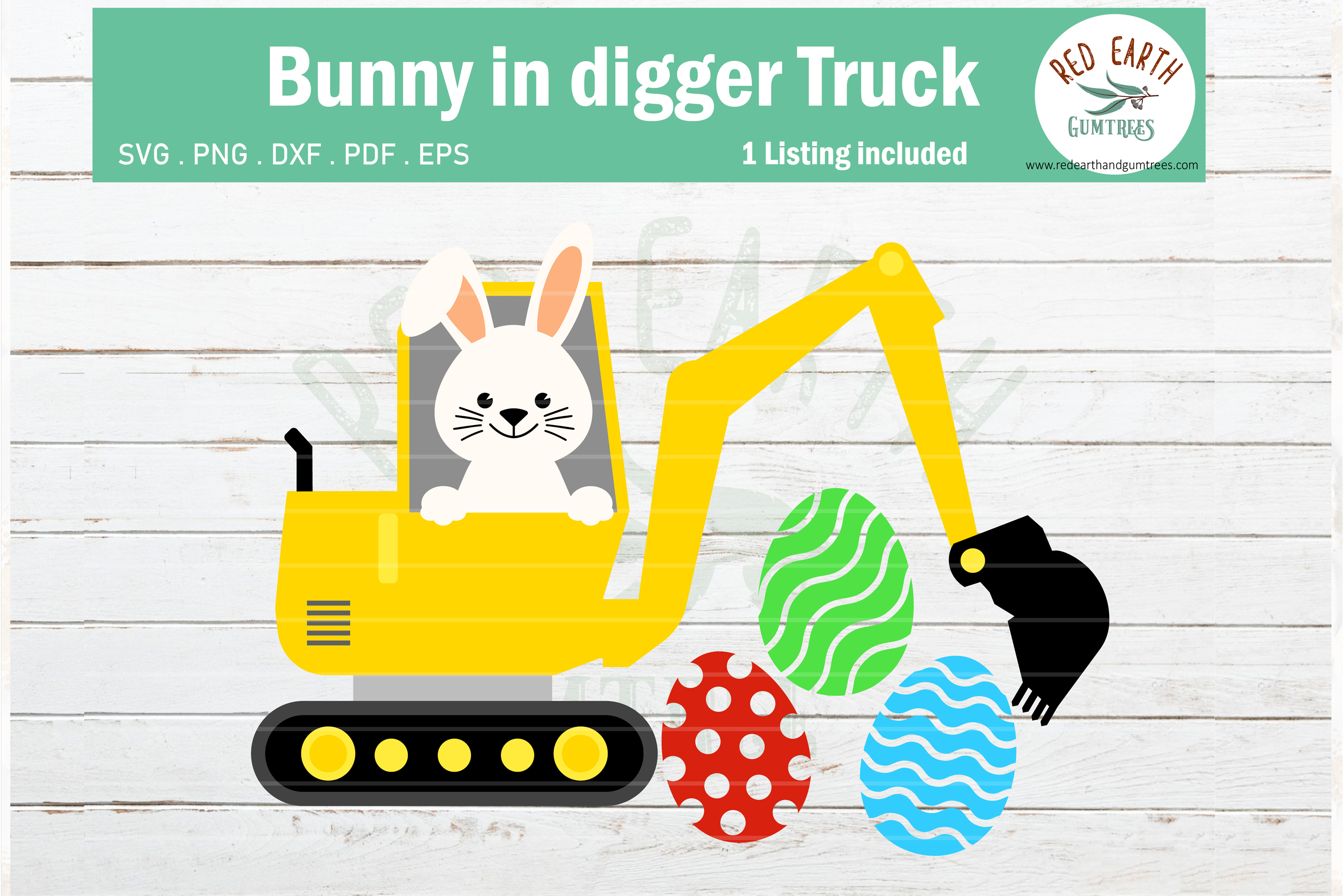 Download Free Easter Bunny In Digger Truck Rabbit Graphic By Redearth And for Cricut Explore, Silhouette and other cutting machines.