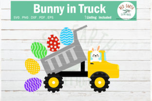 Easter Bunny in Dump Truck Rabbit Graphic Crafts By redearth and gumtrees