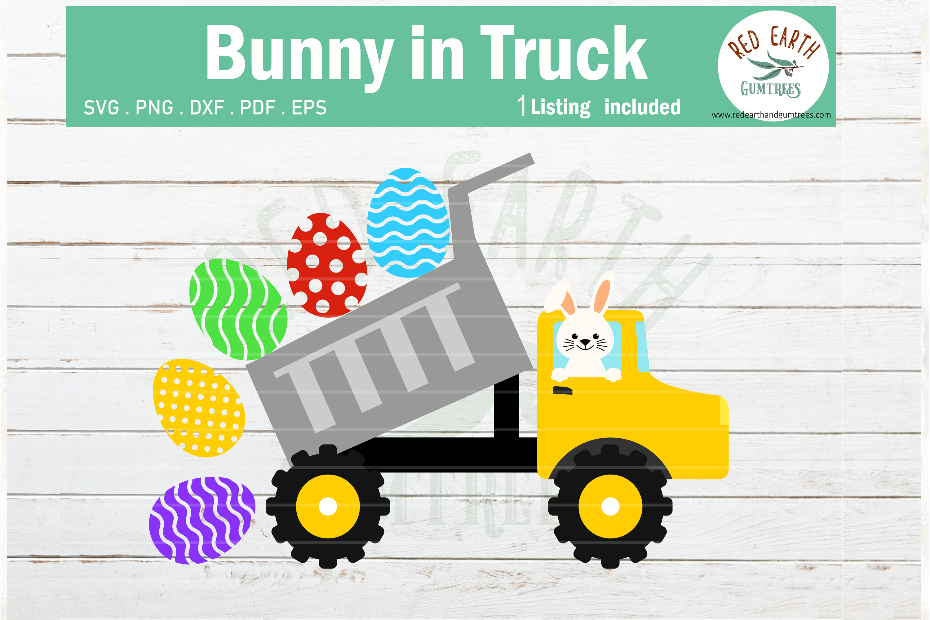 Download Free Easter Bunny In Dump Truck Rabbit Graphic By Redearth And for Cricut Explore, Silhouette and other cutting machines.