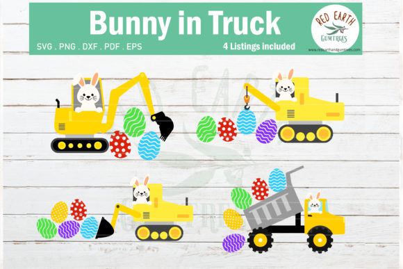 Download Free Easter Bunny In Trucks Bundle Graphic By Redearth And Gumtrees for Cricut Explore, Silhouette and other cutting machines.