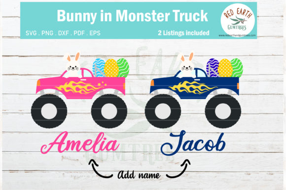 Download Free Easter Bunny Monster Truck Rabbit Graphic By Redearth And for Cricut Explore, Silhouette and other cutting machines.
