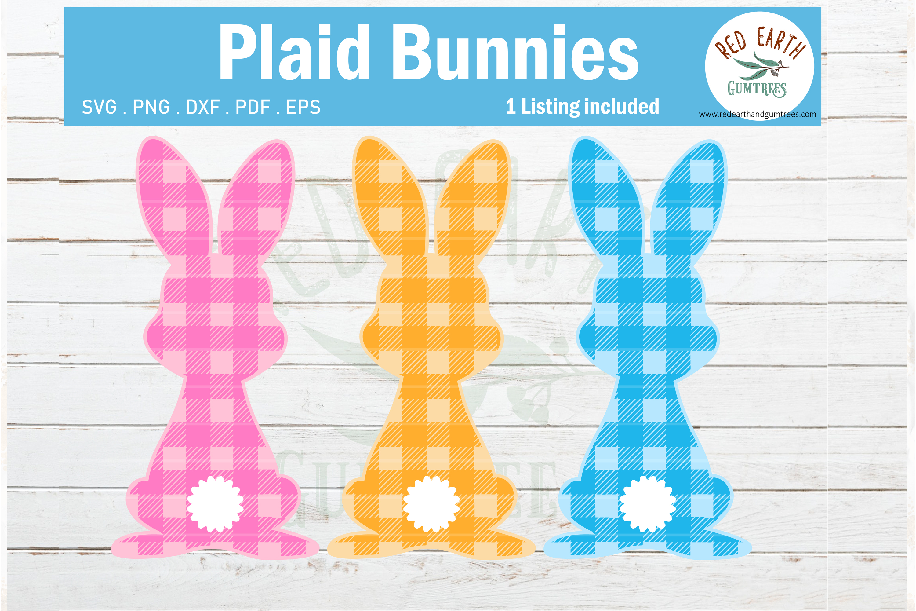 Download Free Easter Plaid Bunny Rabbit Gingham Graphic By Redearth And for Cricut Explore, Silhouette and other cutting machines.