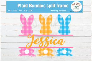 Easter Plaid Bunny Split Monogram  Graphic Crafts By redearth and gumtrees