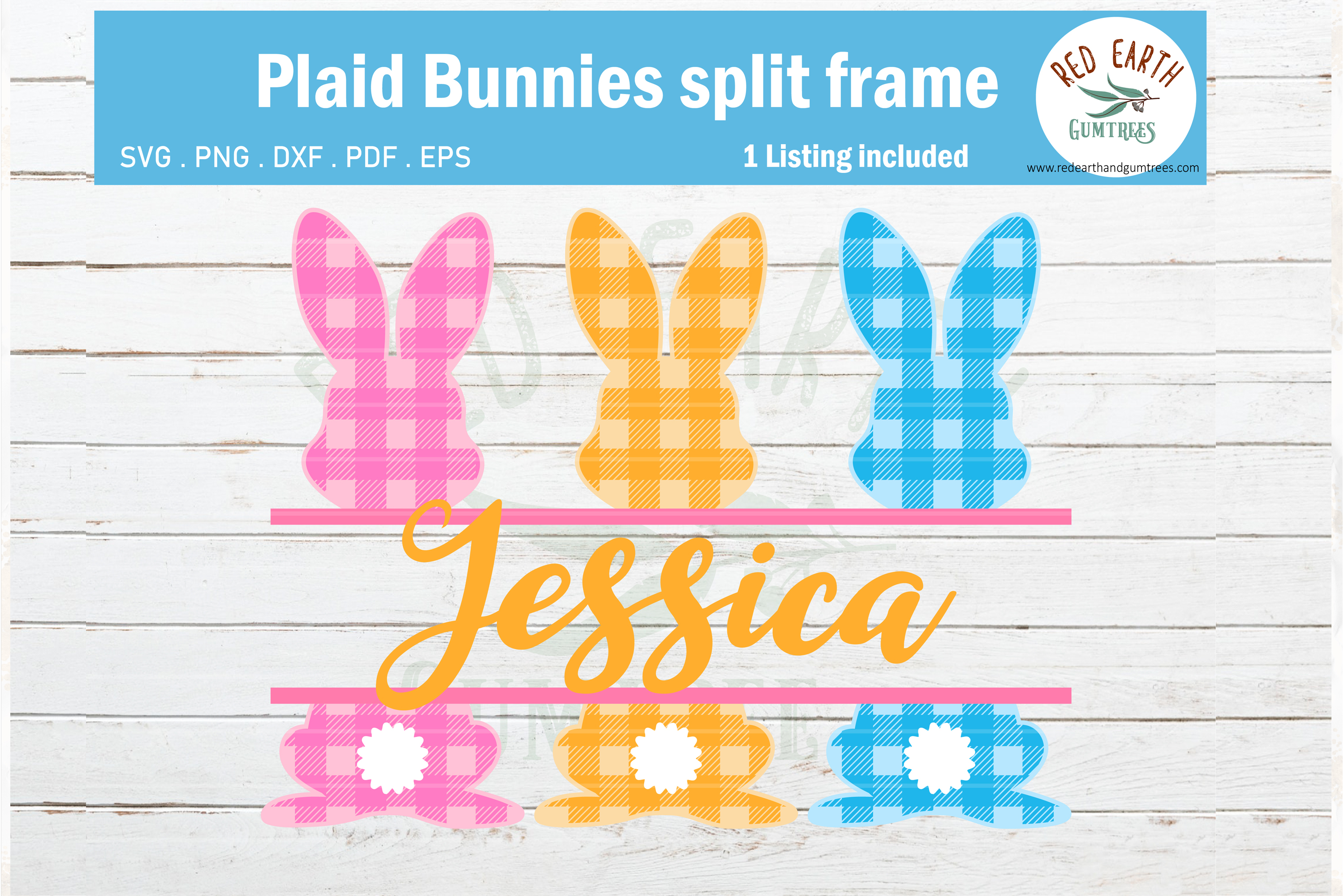 Download Free Easter Plaid Bunny Split Monogram Graphic By Redearth And for Cricut Explore, Silhouette and other cutting machines.