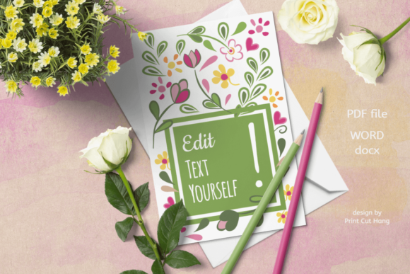 Download Free Editable Text Greeting Cards Templates Graphic By Print Cut Hang for Cricut Explore, Silhouette and other cutting machines.