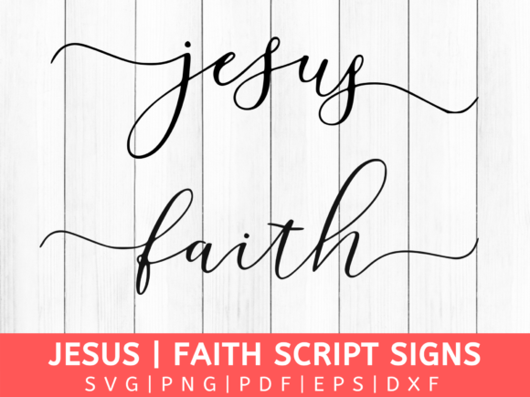 Download Free Faith Jesus Script Cross Cut File Graphic By Mockup Venue for Cricut Explore, Silhouette and other cutting machines.