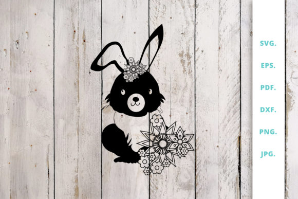 Print on Demand: Floral Easter Bunny Cut File 1 Graphic Crafts By Sintegra