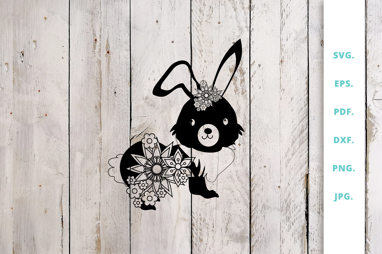 Download Free Floral Easter Bunny Cut File 2 Graphic By Sintegra Creative for Cricut Explore, Silhouette and other cutting machines.