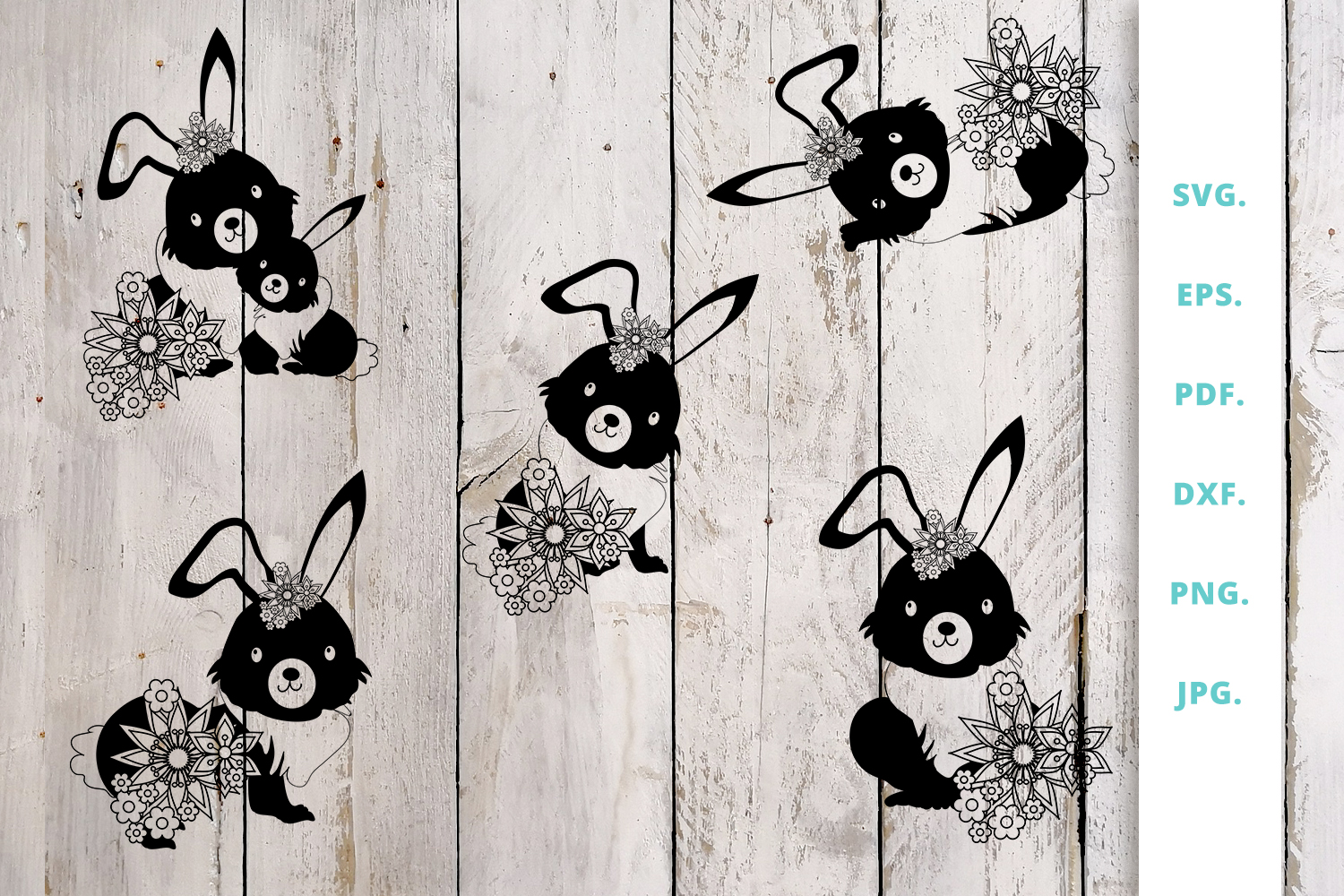 Download Free Floral Easter Bunny Cut File Bundle Graphic By Sintegra for Cricut Explore, Silhouette and other cutting machines.