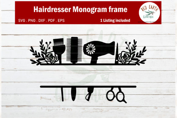 Download Free Floral Hairdresser Monogram Frame Graphic By Redearth And for Cricut Explore, Silhouette and other cutting machines.