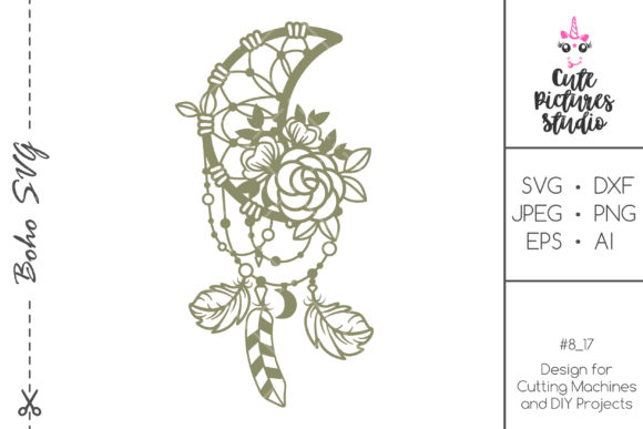 Download Free Floral Moon Dream Catcher Graphic By Cutepicturesstudio for Cricut Explore, Silhouette and other cutting machines.
