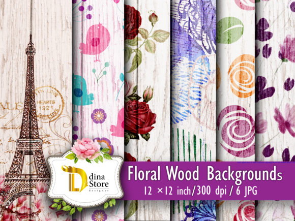 Print on Demand: Floral Wood Backgrounds Graphic Backgrounds By dina.store4art - Image 1