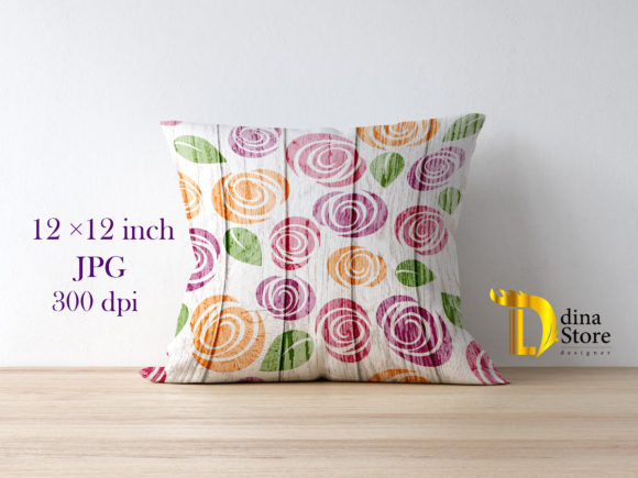 Print on Demand: Floral Wood Backgrounds Graphic Backgrounds By dina.store4art - Image 3