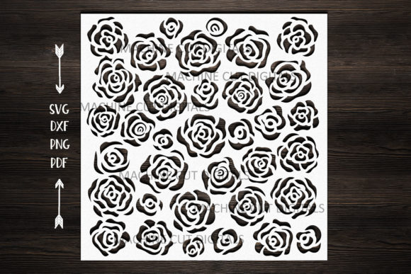 Floral Roses Square Pattern Stencil  Graphic Crafts By Cornelia