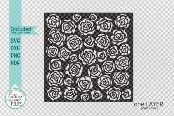 Download Free Floral Roses Square Pattern Stencil Graphic By Cornelia for Cricut Explore, Silhouette and other cutting machines.