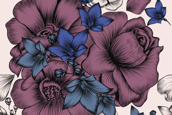 Vector Hand Drawn Flowers Vintage Style Graphic By