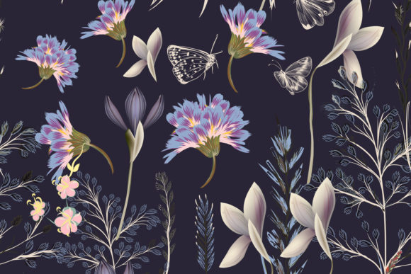 Flower Vector Pattern with Plants Graphic Patterns By fleurartmariia