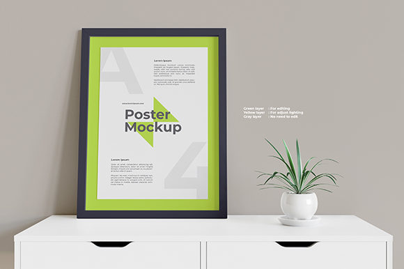 Framed Poster Mockup on White Table Graphic Product Mockups By Muhazdinata