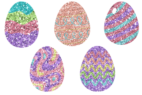 Print on Demand: Glitter Easter Egg Clipart or Stickers Graphic Print Templates By AM Digital Designs