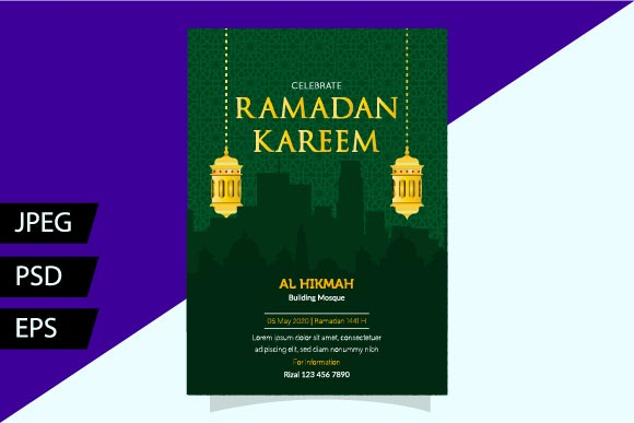 Download Free Green Ramadan Flyer Graphic By Griyolabs Creative Fabrica for Cricut Explore, Silhouette and other cutting machines.