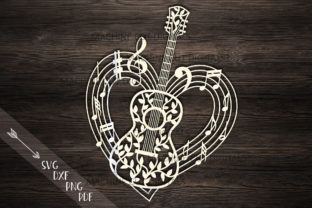 Download Free Guitar Musical Heart Shape File Graphic By Cornelia Creative for Cricut Explore, Silhouette and other cutting machines.