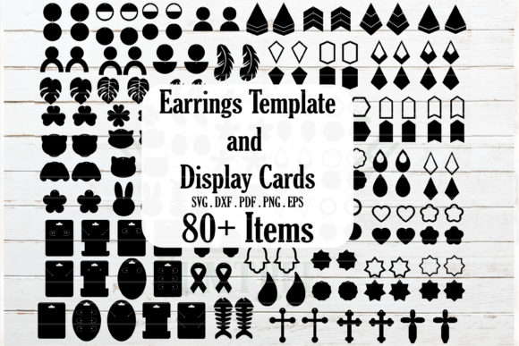 Download Free Huge Earrings And Jewelry Card Template Graphic By Redearth And for Cricut Explore, Silhouette and other cutting machines.