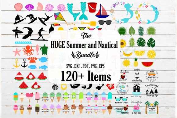Huge Summer,Tropical and Nautical Bundle Graphic Crafts By redearth and gumtrees