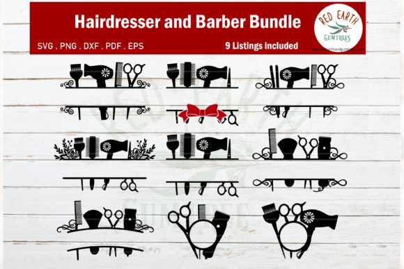 Hairdresser and Barber Monogram Frame Graphic Crafts By redearth and gumtrees