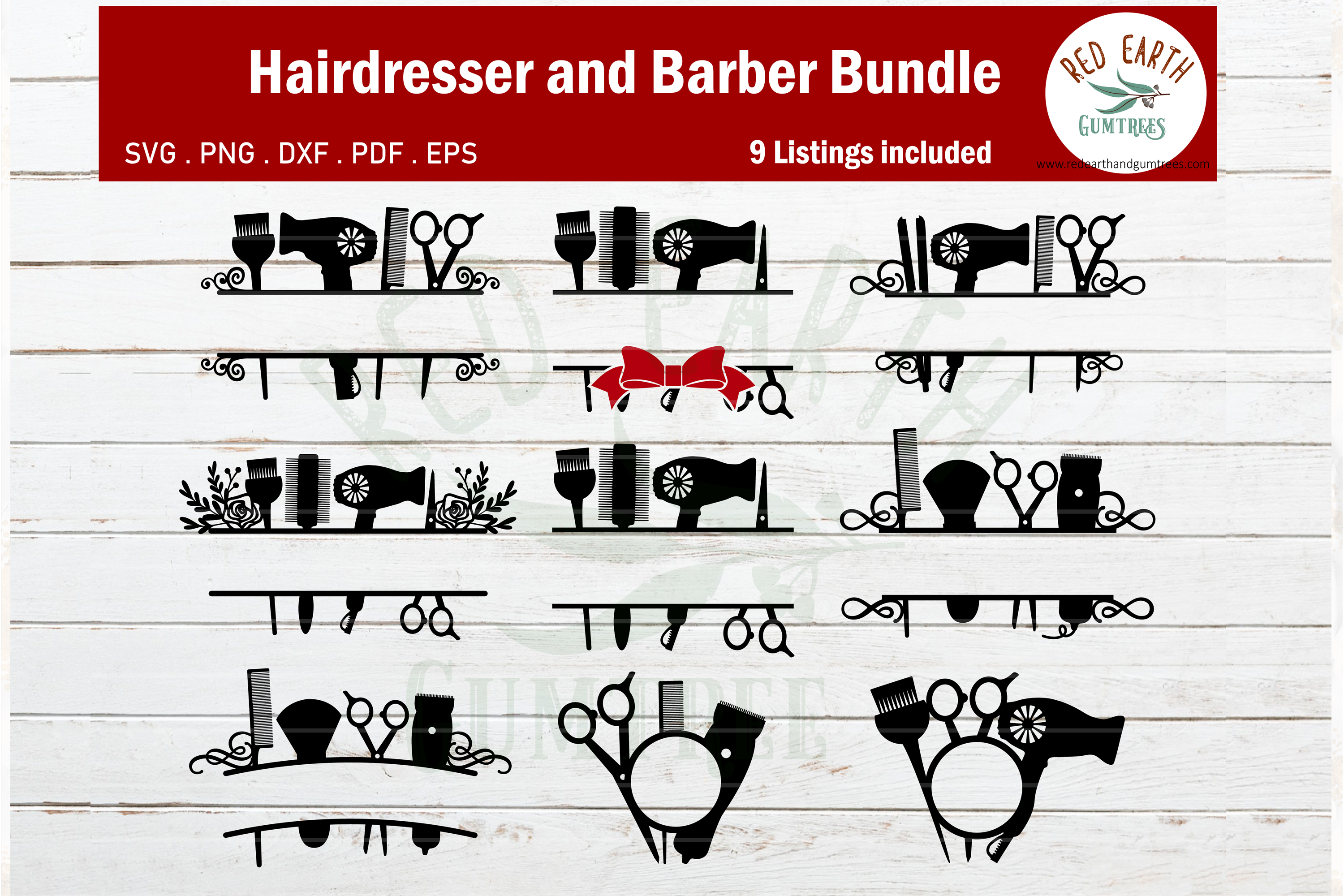 Download Free Hairdresser And Barber Monogram Frame Graphic By Redearth And for Cricut Explore, Silhouette and other cutting machines.