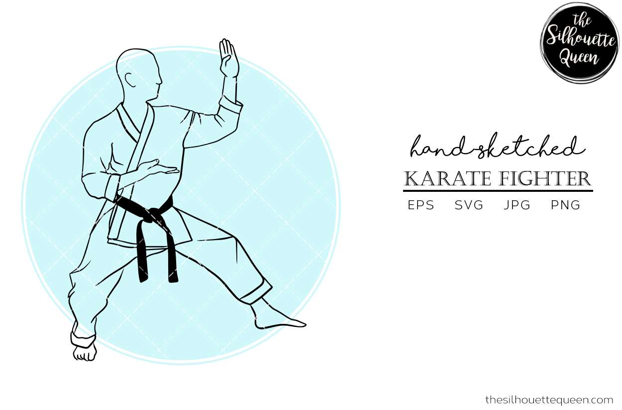 Download Free Hand Drawn Male Karate Fighter Vector Graphic By for Cricut Explore, Silhouette and other cutting machines.