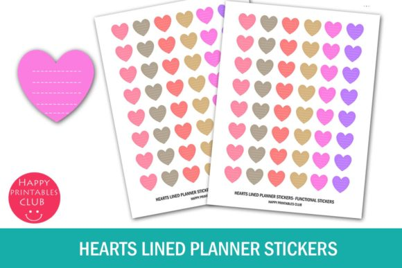 Print on Demand: Hearts Lined Planner Stickers- Hearts Graphic Crafts By Happy Printables Club