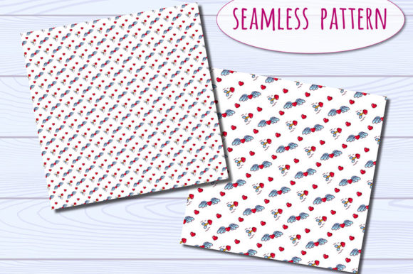 Download Free Hearts Digital Paper Arrows And Wings Graphic By Bunart for Cricut Explore, Silhouette and other cutting machines.
