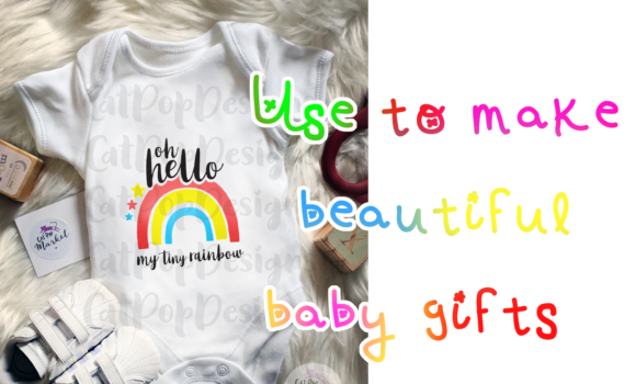 Download Free Hello Rainbow Baby Graphic By Catpopdesigns Creative Fabrica for Cricut Explore, Silhouette and other cutting machines.