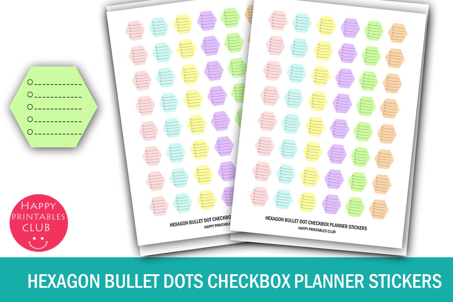 Download Free Hexagon Checkbox Stickers Planner Graphic By Happy Printables for Cricut Explore, Silhouette and other cutting machines.