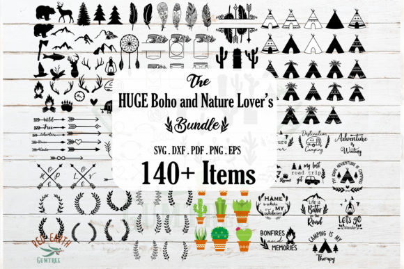 Download Free Huge Camping Boho And Nature Bundle Graphic By Redearth And for Cricut Explore, Silhouette and other cutting machines.