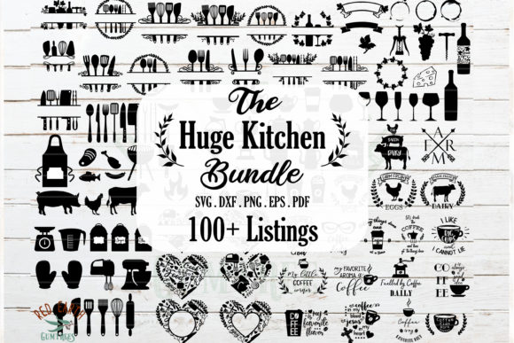 Huge Kitchen - Wine and BBQ Bundle Gráfico Crafts Por redearth and gumtrees