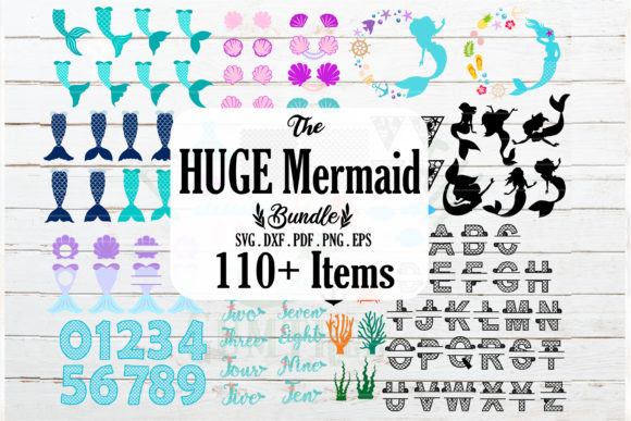 Download Free Huge Mermaid And Nautical Bundle Graphic By Redearth And for Cricut Explore, Silhouette and other cutting machines.