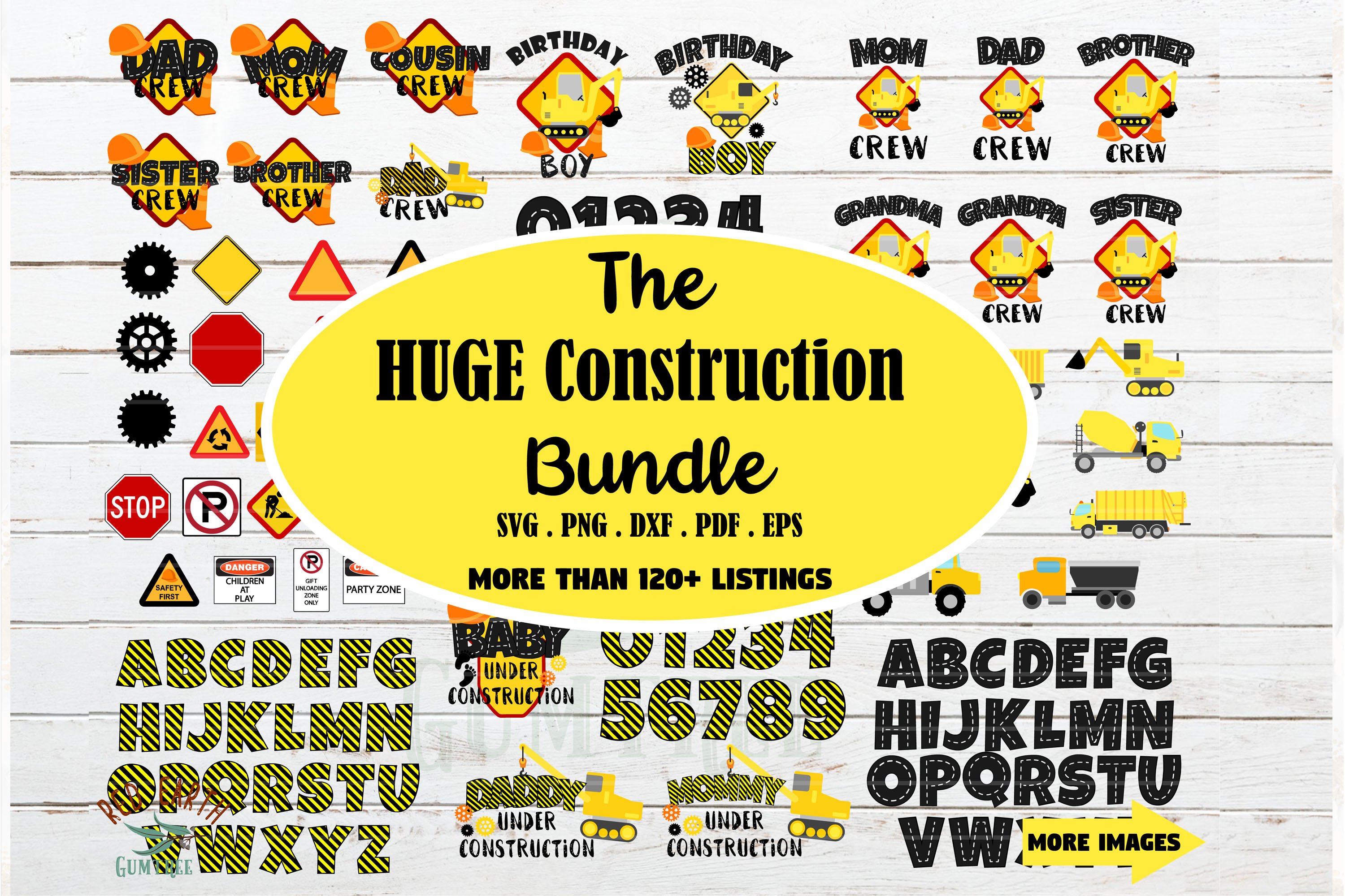 Download Free Huge Construction Theme Bundle Graphic By Redearth And Gumtrees for Cricut Explore, Silhouette and other cutting machines.