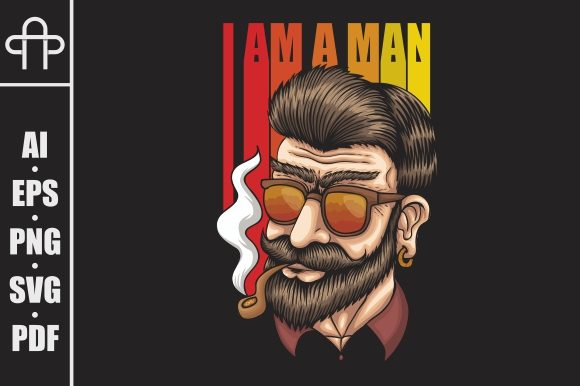 Print on Demand: Man Smoke Retro Vector Illustration Graphic Illustrations By Andypp