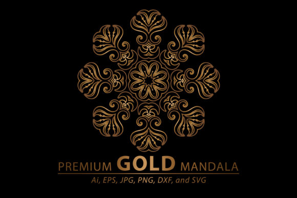 Download Free Mandala Gold Graphic By Redsugardesign Creative Fabrica for Cricut Explore, Silhouette and other cutting machines.