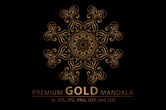 Print on Demand: Mandala Gold Graphic Patterns By redsugardesign