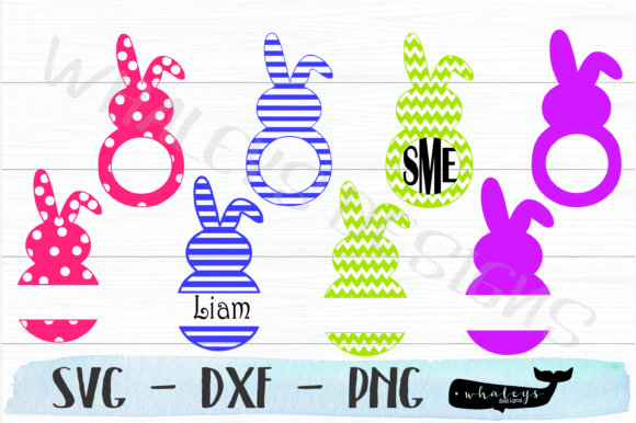 Monogram Bunny - Easter Graphic Illustrations By WhaleysDesigns