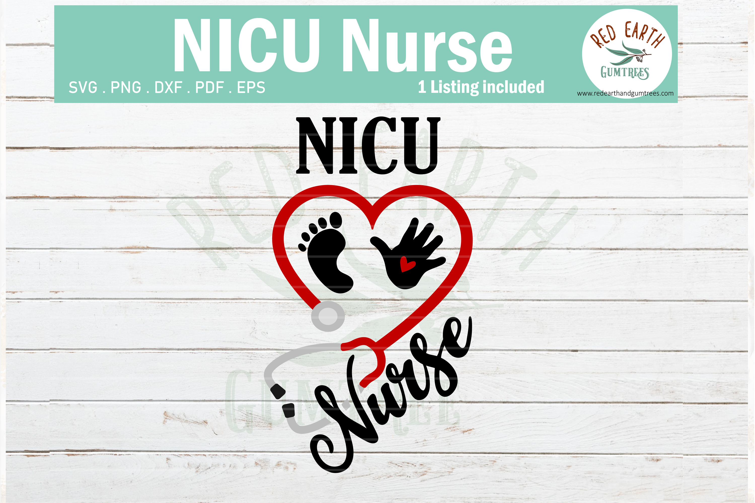 Download Free Nicu Nurse Heart Stethoscope Baby Graphic By Redearth And for Cricut Explore, Silhouette and other cutting machines.